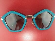 AUTHENTIC MIU MIU SUNGLASSES MU 06OS NAO1F0 TURQUOISE FRAME/BROWN LENS MU06OS