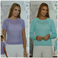 KNITTING PATTERN Ladies Short or Long Sleeve Lace Front/Back Jumpers/Top DK 4518