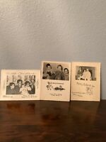 Set of three vintage black and white family Christmas photos cards 1950's