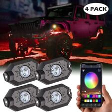 4 Pods RGB LED Rock Lights Offroad Music Wireless Bluetooth Control ATV UTV 4WD