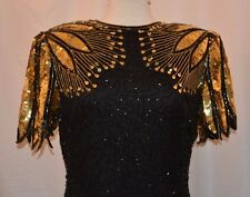 Lawrence Kazar New York Dress Beaded Formal Sz L Extra Beads Black Gold Sequence