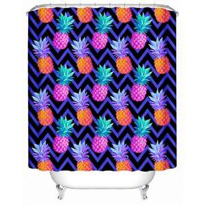 Purple Pineapple Fruit Stripe Modern Bathroom Waterproof Bath Shower Curtain