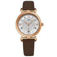 Alexander Swiss Made Ladies Watch Rose Gold Tone Satin Strap Silver Dial