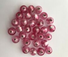 Thirty 8mm Silver Pink Murano Glass Beads with .925 silver lining