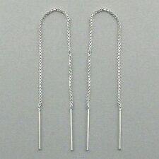 Sterling Silver 925 Threads Threader Earrings Box Chain 10.7cm Length Thread