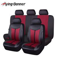 Universal Car Seat Covers claret-red PU leather Waterproof rear seat split 40/60