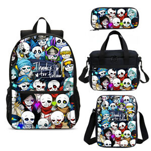 Undertale Game Backpack 4Pcs Kids School Lunch Box Sling Bags Pen Case Wholesale