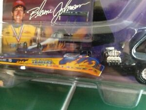 """the late BLAINE JOHNSON """"TRAVERS TOOLS"""" 1/64 NHRA BLUE TOP FUEL DRAGSTER DIECAST"""