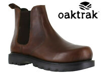 Mens Oaktrak Dealer Boots Leather Pull On Brown Chelsea Ankle Boots Rocksley