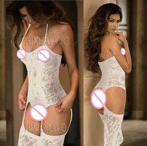 White Fishnet Open Crotch Bodystocking Size 6 8 10 Sexy Body Stocking Suspenders