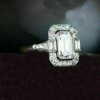 Retro, Vintage Art Deco Engagement Ring 4 Ct Emerald Diamond 14K White Gold Over