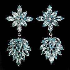 Sterling Silver 925 Stunning Genuine Marquise Sky Blue Topaz Dangle Earrings