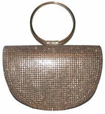 NINA Rose Gold Shine Rhinestone handbag purse clutch NEW