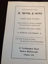 Ephemera 1972 Market Harborough Advert H Monk & Sons Fitted Carpets f1b