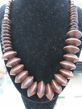 """A LARGE CHUNKY DARK WOODEN BEAD STRETCH NECKLACE. 20"""" + EARRINGS & BRACELET."""