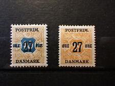 2x Timbres Stamps DANEMARK DANMARK Postfrim 27ø 1918 Mi 90 & 96 Neufs MH*