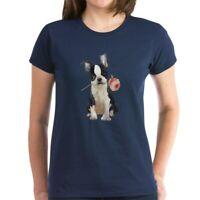 CafePress Boston Terrier Rose T Shirt Women's Cotton T-Shirt (1819152060)