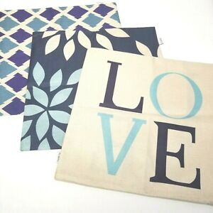"""Set of 3  Pillow Covers Teal Navy Love Design  18""""x 18"""""""
