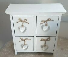 Shabby Chic White Wooden Trinket Box (4 drawers) with Glass Heart Handles