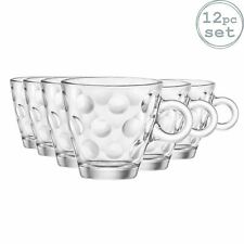 Espresso Coffee Glasses Clear Cups 85ml, Bormioli Rocco Dots - Set of 12