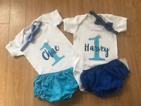 Personalised My 1st Birthday I Am Boys Tshirt pants bow tie outfit 12-18 months
