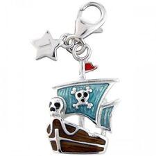 SILVER Charm Tingle Pirata Barca, Nuove, Bracciale Charms, sch269, gioielli, inscatolato