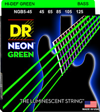 DR Strings NGB5-45 NEON GREEN Coated Bass Guitar Strings - Medium - 5-String Set