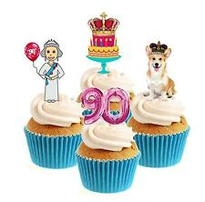 Novelty The Queen is 90 Collection 12 Edible Stand Up wafer paper cake toppers
