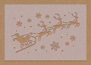 Merry Christmas Santa's Sleigh Reindeer Stencil Festive Craft Card Making