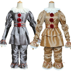 Pennywise Clown Suit Joker Stephen King's It Halloween Cosplay Costume Prop