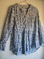 Vintage America blues top Women L floral Blouse long sleeve tissue cotton croche