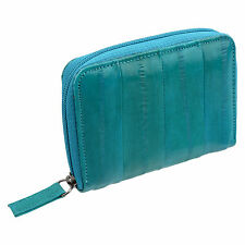 Eel Skin Leather Business Credit cards Pouch Zip Around Wallet Aqua Blue