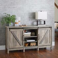 TV Stand Cabinet Buffet Credenza Rustic Farmhouse Sliding Barn Door Gray 60""