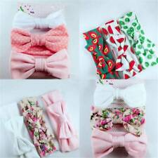 3Pcs Cute Big Bow-knot Headband Cotton Elastic Baby Girls Print Floral Hair Band
