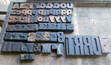 Vtg Letterpress Wood Type Printer Blocks-Mixed Lot Decoupage-62 Blocks