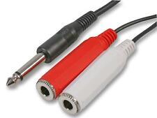 6.35mm MONO Jack Plug to 2x Big 6.35mm Mono Jack Sockets AUX Audio CABLE 50cm