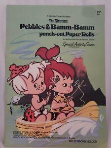 1974 The Flintstones Pebbles & Bamm-Bamm punch-out paper dolls- Treasure Hunt