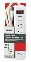 Prime PB802124 6 Outlet 750 Joule Surge Protector 3-foot Cord White 3 Prong New