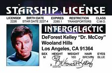 DeForest Kelly Dr Bones McCoy - STAR TREK plastic ID card Drivers License DoctoR