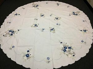 "White 90x90"" Round Cotton Embroidery Embroidery Tablecloth Napkins Vintage Style"