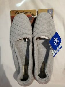 Dearfoams Women's Slippers Size 9-10 US Large New Light Heather Grey With Tags