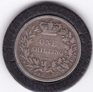 1846   Queen   Victoria   Shilling  (1/-)  Silver  (92.5%)   Coin