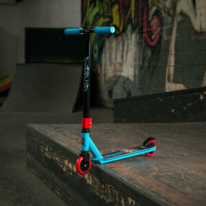 Xootz Kids Stunt Trick Scooter, Slasher, Girls Boys Ride On Toy Blue Black & Red