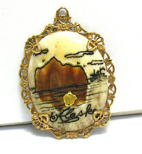 ANTIQUE 12K GOLD FILLED ALASKA SOUVENIR PENDANT W/ REAL GOLD NUGGET GOLD RUSH