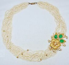 "19"" White Pearl Necklace w/ 22K Gold, Green Jadeite Jade, Diamonds & $4,062 App."