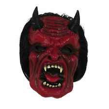 Adult Overhead Devil Mask With Hair Rubber Fancy Dress Costume Horror Halloween