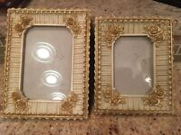 Lot Vintage Picture Frames Ornate~Cream~Gold~Roses  BEAUTIFUL MUST SEE