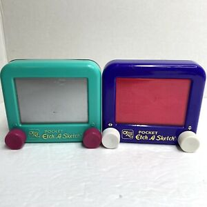 Lot of 2 Ohio Art POCKET Etch A Sketch Mini Small Toy Teal and Purple Vintage