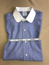 NWT BROOKS BROTHERS Men's Blue w/ White Collar Dress Shirt 15.5/35 Non Iron Slim