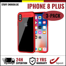 3IN1 Auto Focus Cover Cas Coque Etui Silicone Hoesje Case For iPhone 8 Plus Red